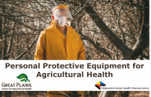 Image of man in a forest wearing personal protective equipment, overlaid with the course title