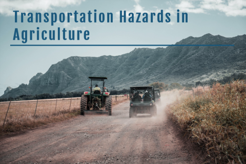 A tractor and two ATVs driving away down a rural dirt road with mountains in the background, and the course title superimposed